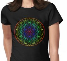 Flower of Life (rainbow) sacred geometry symbol  Womens Fitted T-Shirt