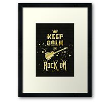 Keep Calm and Rock On Gold Electric Guitar Typography Framed Print
