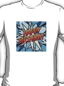 Comic Book HAPPY BIRTHDAY! blue T-Shirt