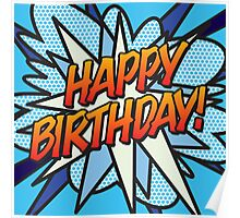 Comic Book HAPPY BIRTHDAY! blue Poster