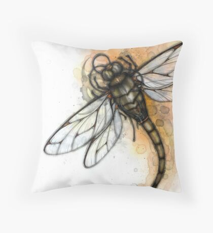 Masked Dragonfly Throw Pillow