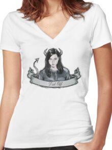 Aubrey Plaza Women's Fitted V-Neck T-Shirt