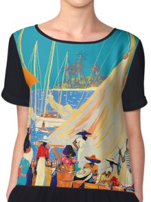 """TWA AIRLINES"" Fly to Nassau Advertising Print Chiffon Top"