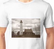 Lighthouse - Tawas Point, Michigan in Sepia Unisex T-Shirt