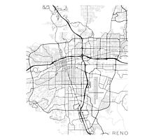 Reno Map, USA - Black and White Photographic Print