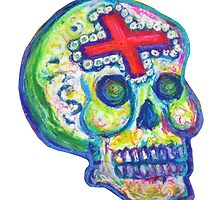 Mexican Day of the Dead Sugar Skull with Cross Calavera con Cruz by Candace Byington