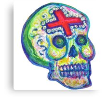 Mexican Day of the Dead Sugar Skull with Cross Calavera con Cruz Canvas Print