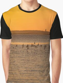 Sternula Antillarum - Least Tern Flock Flying Into Sunrise | Springs, New York Graphic T-Shirt