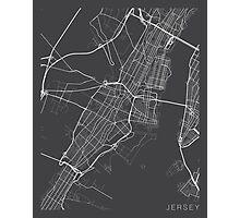Jersey Map, USA - Gray Photographic Print