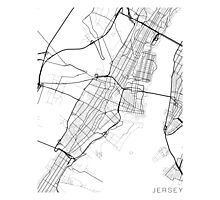 Jersey Map, USA - Black and White Photographic Print