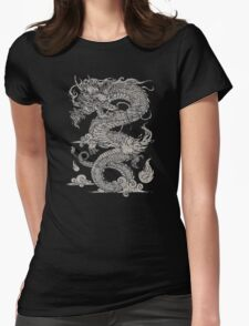 Vintage Ancient Chinese Dragon On Dark Womens Fitted T-Shirt
