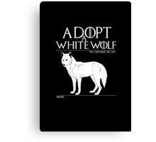 Adopt a white wolf. Canvas Print