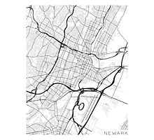 Newark Map, USA - Black and White Photographic Print