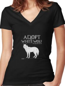 Adopt a white wolf. Women's Fitted V-Neck T-Shirt