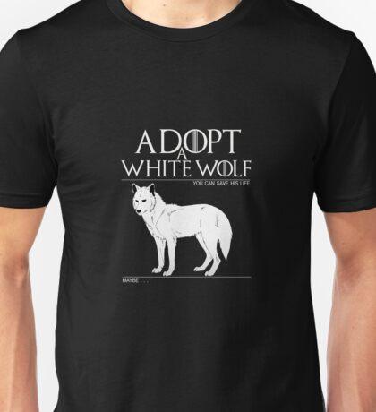 Adopt a white wolf. Unisex T-Shirt