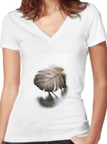 Feather Fracture Women's Fitted V-Neck T-Shirt