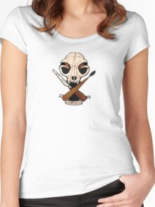 Sculpt or Die Cat Skull Jolly Roger  Women's Fitted Scoop T-Shirt