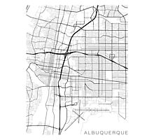 Albuquerque Map, USA - Black and White Photographic Print