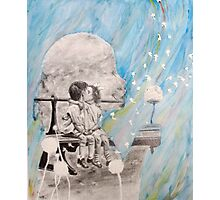 Drawing of Little Kids Kissing with Dandelion- Watercolor and Graphite Photographic Print