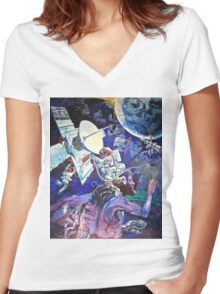 Spaceship Earth Mural Women's Fitted V-Neck T-Shirt