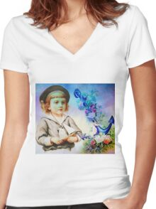 SAILOR DREAMS Women's Fitted V-Neck T-Shirt