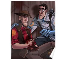 Team Fortress 2 Blu Medic Help Red Sniper Poster Poster