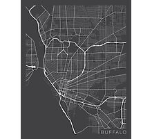 Buffalo Map, USA - Gray Photographic Print