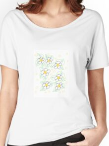 Sketched Floral With Yellow Women's Relaxed Fit T-Shirt