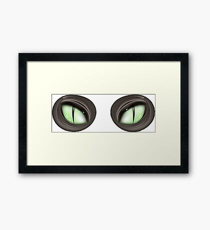 Scary Green Glowing Cat Eyes Halloween Costume Framed Print