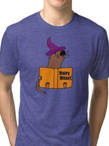 Smiletodaytees Sea Otter Reading Book Hairy Otter Tri-blend T-Shirt