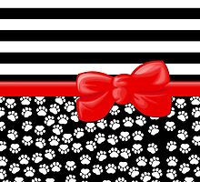Ribbon, Bow, Dog Paws, Stripes - White Black Red by sitnica