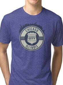 Chicago The Windy City Skyline Stamp Tri-blend T-Shirt