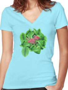 Tres Fl'Amigos  Women's Fitted V-Neck T-Shirt