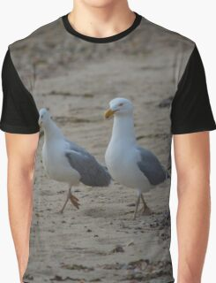 Larus Smithsonianus - American Herring Gull Couple Walking Down The Beach | Springs, New York Graphic T-Shirt