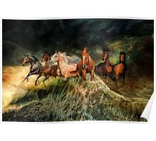 Horses and waves Poster