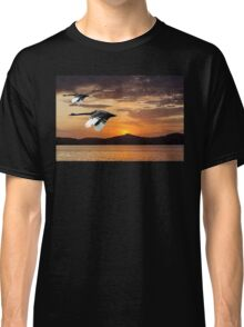 Two Swans at Dawn. Waterscape Sunrise with Water Reflections Classic T-Shirt