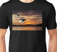 Two Swans at Dawn. Waterscape Sunrise with Water Reflections Unisex T-Shirt