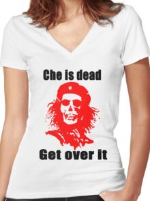 Che is dead FUCK Women's Fitted V-Neck T-Shirt