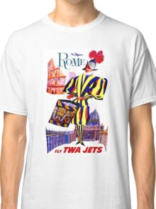 """TWA AIRLINES"" Fly to Rome Advertising Print Classic T-Shirt"