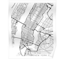 New York City, Map - Black and White Poster