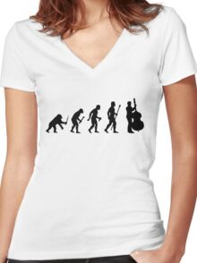 Double Bass Evolution Silhouette Women's Fitted V-Neck T-Shirt