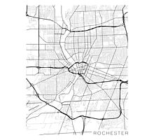 Rochester Map, USA - Black and White Photographic Print