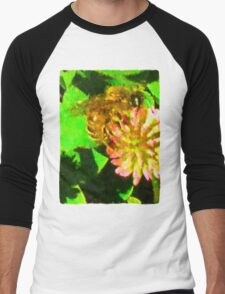 Golden Bee on Pink Clover Men's Baseball ¾ T-Shirt
