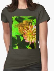 Golden Bee on Pink Clover Womens Fitted T-Shirt