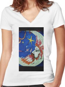 Man in the Moon Women's Fitted V-Neck T-Shirt