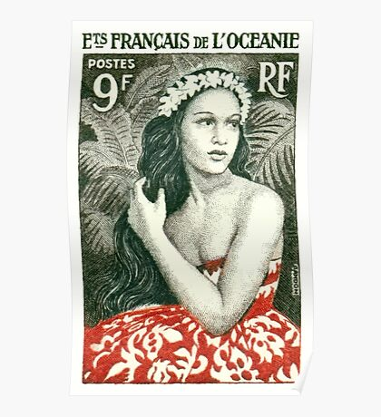 1955 French Polynesia Girl of Bora Bora Postage Stamp  Poster