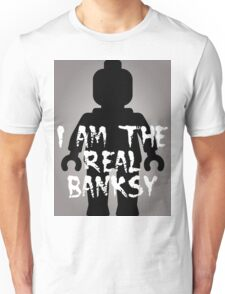 "Black Minifig with ""I am the Real Banksy"" slogan [Large] by Customize My Minifig Unisex T-Shirt"