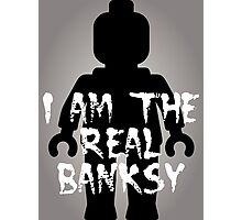 """Black Minifig with """"I am the Real Banksy"""" Photographic Print"""