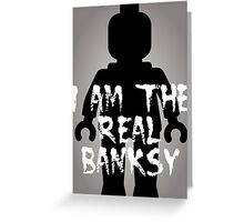 """Black Minifig with """"I am the Real Banksy"""" slogan [Large] by Customize My Minifig Greeting Card"""