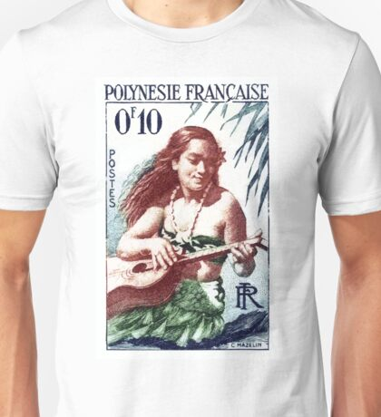 1958 French Polynesia Guitar Girl 10fr Postage Stamp Unisex T-Shirt